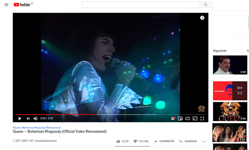 El video de «Bohemian Rhapsody» logró un récord histórico en YouTube
